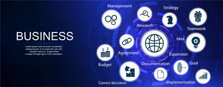 Business components, vector banner with keywords and icons, website banner template (budget, documents, teamwork, agreement, money, implementation plan, strategy, idea, goal ) Infographic business Illusztráció