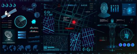 High-tech dashboard for people search. Search, recognition, detection. Biometric smart recognition system (persons, body, fingerprints, palm) Spyware app for tracking. HUD, GUI, UI vector elements Illustration