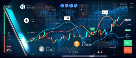 Cryptocurrency online statistics and data Analytics. Trade online from phone, vector banner. Forex market. Binary option. Candles and indicators. Perfect for web design, banner and presentation.