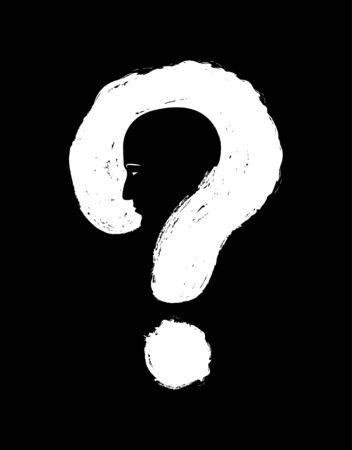Human face with question mark. Double exposure isolated white black background. Solution concept. Vector art