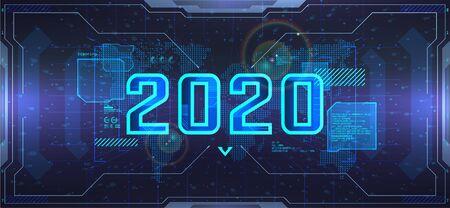 New 2020 Year, futuristic technology banner. Digital data visualization, Business technology concept. Futuristic 2020 background. Happy new year concept. Vector illustration