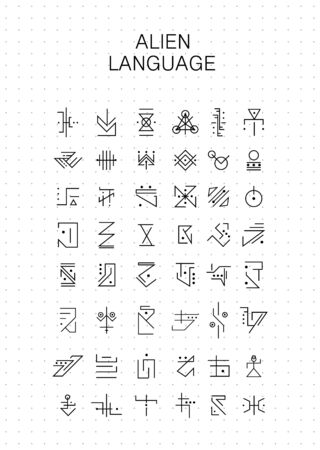 Alfabeto desconocido, símbolos de jeroglíficos alienígenas. Personajes de ficción adecuados para personajes mágicos, runas, lenguaje OVNI, código encriptado. Alfabeto de idioma desconocido de vector