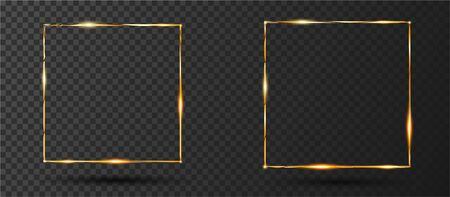 Golden Shiny Glowing frame with glare and shadow isolated on transparent background. Set of two golden luxury square borders. Realistic vintage Gold shiny frames. Vector design elements set Foto de archivo - 129729449