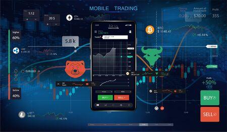 Negociación de acciones móviles con gráficos de velas y gráficos financieros en la pantalla. Fondo futurista con teléfono inteligente e interfaz para el comercio de criptomonedas. Comercio de mercado. Opción binaria. Vector