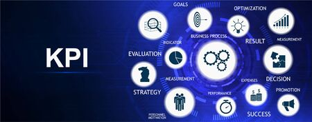 KPI - Key Performance Indicator banner with Keywords and Icons. Metrics to measure achievement versus planned target . Business analytics. Key Performance Indicator info banner. Vector infographic