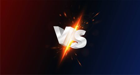 Versus, vs, screen with 3d metal letters, collision, flash of spark and glow from impact on dark background. Versus battle, competition vs match game, martial battle vs sport. Vector illustration