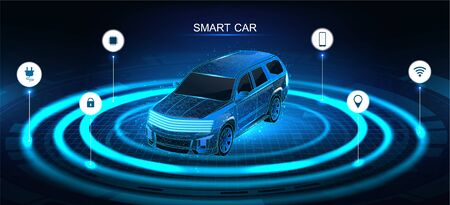 Isometric smart 3d crossover. Car banner, electric machine, vehicle. Smart jeep banner with icons and machine benefits. Isometric autonomous car vehicle with infographic. Intelligent car banner.