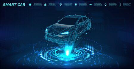 Bannière isométrique de voiture intelligente avec icônes et texte. Projet abstrait d'une voiture intelligente ou intelligente sous la forme d'un ciel ou d'un espace étoilé. Hologramme à rayons X dans le style HUD. Machine électrique 3D. IOT automatique. Vecteur