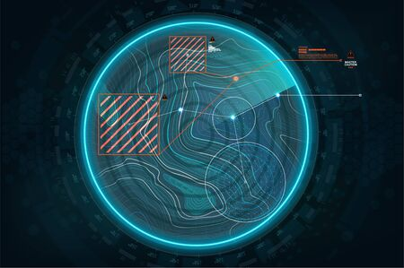 Radar screen in HUD style. Air search gadget in futuristic style. Game concept, military search, system. GUI, HUD interface. Vector virtual topographic map, Navigation interface wallpaper. Radar UI