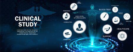 Bannière de concept d'étude clinique avec mots-clés et icônes et hologramme corporel 3D. Examen moderne des soins de santé de la santé humaine et du traitement approprié. Plein soutien. Illustration vectorielle, concept médical Vecteurs