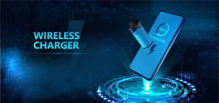 Wireless charging of the smartphone battery and 3d hologram batteries the battery icon shows the charging process. Futuristic technology concept. Vector illustration 写真素材 - 132070558