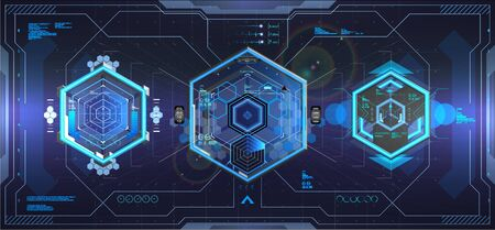 Cockpit helmet HUD style. Futuristic VR Head-up Display Design. FUI interface, VR concept. Sci-Fi Helmet, view from the cockpit spaceship. Diamond shaped dashboard panel. Scifi technology. Vector