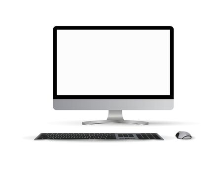 Monitor PC mockup. Trendy realistic thin frame monitor or Pc with mouse and keyboard isolated on white background. 3d realistic gadgets. Layout for web site, presentation, or advertising. 写真素材 - 132069651