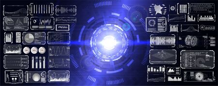 HUD UI GUI elements set pack. Digital abstract lens flare space and interface elements (You can repaint a different color in 1 click). Futuristic concept, energy reactor and HUD interface. Vector Illustration