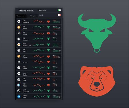 Stock icons of Bull and Bear, Symbol of lowering and raising the market. UI, UX, KIT App icons (bank, trade platforms, analytical). Cryptocurrency market app icons and cryptocurrency list. Vector