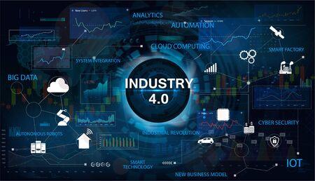 Banner di concetto di Industria 4.0 con parole chiave e icone. Interfaccia con la scritta Industria 4.0. Il concetto di sistemi cyber-fisici. Infografica di settore, IOT, Cloud Computing. Banner vettoriale Vector Vettoriali