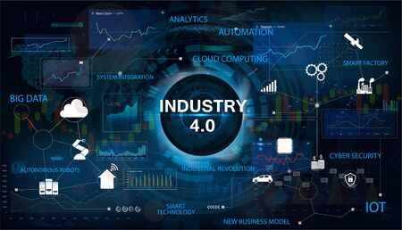 Industry 4.0 concept banner with keywords and icons. Interface with the inscription Industry 4.0. The concept of cyber-physical systems. Industry Infographics, IOT, Cloud Computing. Vector banner Illustration