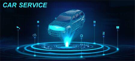 Car Auto Service dans un HUD de style futuriste avec crossover hologramme et icônes. Projection de voiture 3D low poly. Scannage et analyse de données automobiles. Service automobile automobile, design moderne, diagnostic. Vecteur