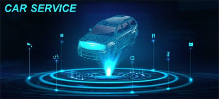 Car Auto Service in futuristic style HUD with hologram crossover and icons. Low poly 3D car projection. Scanning and automobile data analysis. Car Auto Service, Modern Design, Diagnostic. Vector Vettoriali