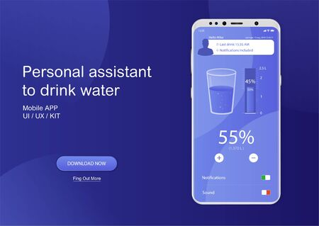 Drink water mobile app. UI, UX, GUI Application to control the daily intake of water. Healthy lifestyle, sport concept. The recommended dose of water every day and track your progress. Fitness App 写真素材 - 132070089