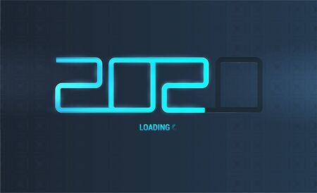 2020 loading banner. Happy New Year in futuristic technology concept. 2020 as a load with highlights and glow. Happy New Year tech holiday background. Merry christmas. Vector illustration