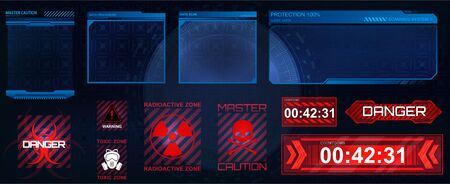 Futuristic screens HUD, GUI, UI and set titles (warning, danger ounthdown and other). Futuristic User Interface, frame screens. Hi-tech callout bar labels, digital templates. Vector callout titles  イラスト・ベクター素材