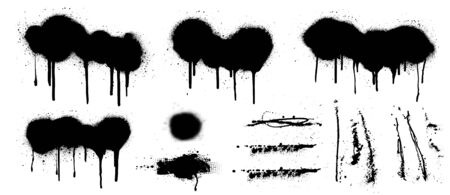 Isolated spray graffiti stencil template. Isolated grunge set. Very nice collection street graffiti spray with flowed paint. Black splashes isolated on white background. Great elaboration. Vector set Ilustração