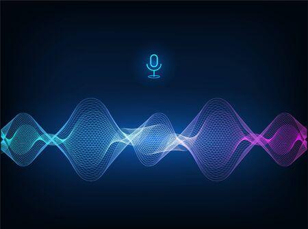 Concepto de asistente de voz. Onda de sonido vectorial. Tecnología de control de voz de micrófono, reconocimiento de voz y sonido. Asistente de voz de AI de alta tecnología, flujo de onda de fondo, ecualizador. Ilustración vectorial