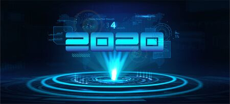 2020 technology banner. Happy New Year concept. Digital data visualization, Business technology. Hologram 2020 with interface,countdown, lens flare and earth map in the background. Vector illustration  イラスト・ベクター素材
