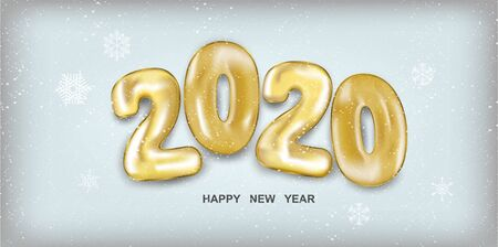 2020 Happy New Year. Holiday vector illustration. Golden numbers balls in 3d realistic style with snow. Festive banner design. Happy New 2020 Year poster. Vector illustration