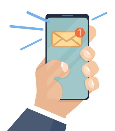 Email notification on smartphone and in hand. Flat illustration in cartoon style. Inbox unread mail, new emails message. Notification, mailing, notification, message. Message concept. Vector image Vektorové ilustrace