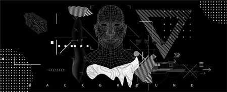 Artificial Intelligence (ai) concept. Robotic computer Intellect and machine learning cyber mind. Holographic silhouette of a human. Cyber head (Ai) illustration. VR - virtual reality image. Vector