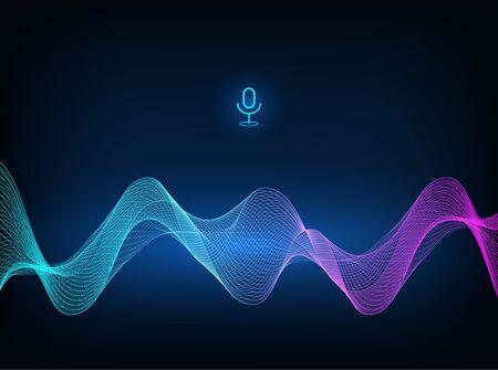 Voice assistant concept. Microphone voice control technology, voice and sound recognition. Vector sound wave. High-tech AI assistant voice, background wave flow, equalizer. Vector illustration