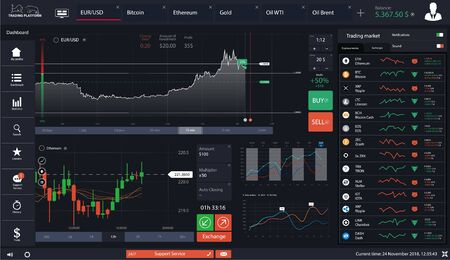 Dashboard forex market. Cryptocurrency App. Online statistics and data Analytics, UI for business and trade app. Trading platform dashboard, infographic elements, diagrams and charts. Vector  イラスト・ベクター素材