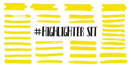 Highlight brush lines. Marker color stroke, brush pen hand drawn underline. Yellow watercolor hand drawn highlight set. Vector abstract graphic stylish element. Vector collection  イラスト・ベクター素材