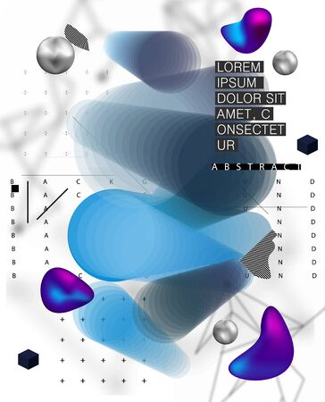 Placard template with abstract liquid bubbles shapes in Memphis style 80s. Geometric style in flat nd 3d forms design poster. Retro artwork, banner, poster, card, flyer. Vector illustration Memphis  イラスト・ベクター素材
