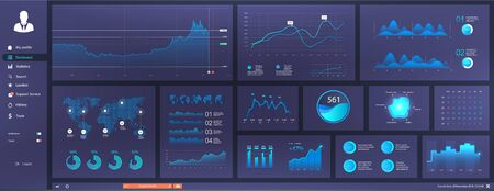 Informative and simple dashboard for any site purposes. Colorful infographics template for business and other projects. Admin panel interface with futuristic blue interface. Vector elements set