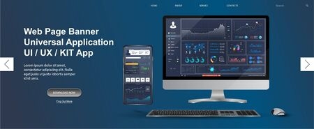 Adapted Application - data analysis,management app, analysis data and Investment for Computer and smartphone. Business app with graph and analytics. Web page banner for presentation. Vector image  イラスト・ベクター素材