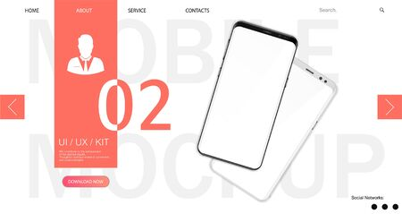 Webpage Smartphone Mockup template with web interface and abstract design. 3D realistic phones. UI,UX,KIT design. Template for advertising or page to the site, marketing, presentation. Vector