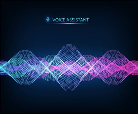 Modern Sound Wave, equalizer music. Vector illustration Voice Assistant. Technology sound background, wave flow, equalizer. AI assistant voice template. Vector illustration on dark background