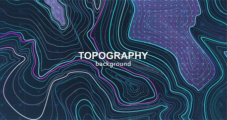 Topography background, contour terrain. Outline cartography landscape. Vector trendy poster design. Liquid gradients lines. topographic map lines, contour background. Vector illustration