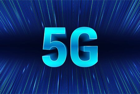 5G technology banner with in big 3D letters 5G internet and data streams on the background. Digital data as lines. Global high speed internet via wireless network concept. Vector illustration 写真素材 - 132732633
