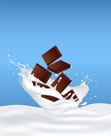 Chocolate in milk and splashes fly around. Illustration to demonstrate the taste. Suitable as a flavoring characteristic of the product (sports nutrition, cocktail, sweets) 3D realistic. Chocolate bar  イラスト・ベクター素材