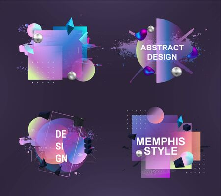 Abstract Memphis Art Forms for design advertising: business cards, invitations, gift cards, flyers and brochures. Stylish graphics with elements of typography abstract shape. Vector