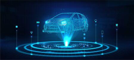 Hologramme auto, auto modèle polygonale futuriste. IA automatique intelligente. Wireframe en ligne style low-poly. Automobile intelligente. Illustration vectorielle dans un style futuriste