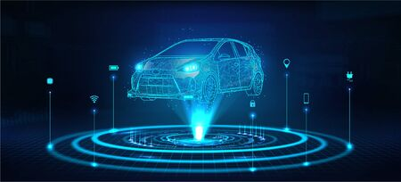Hologram auto, futuristic polygonal model auto. Smart auto ai. Wireframe in line low-poly style. Smart automobile. Vector illustration in futuristic style