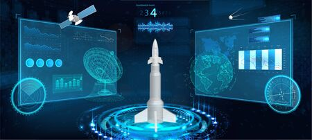 Spacecraft futuristic HUD panel. Space launch rocket with isometric high-tech interface. Sky-fi dashboard, instrument panel, radars, space dish, 3d spaceship, space satellite in the HUD style. Vector