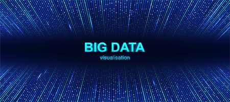 Colorful Big Data visualization background with 3d text. Futuristic data flow background, with lines and glow. Big data connection complex. Data array visual concept. Technology Vector illustration  イラスト・ベクター素材
