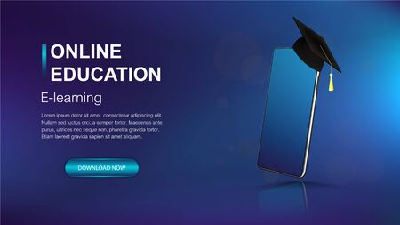 Online education modern web banner template. Mockup smartphone and square academic cap as a symbol of graduation. E-learning banner for website and mobile website. Landing page template. Vector image
