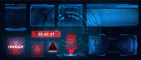 HUD screens frame. Head up display elements set. Hi-tech screens for VR points, gamedev elements, game design GUI. Futuristic framework. Vector set HUD UI